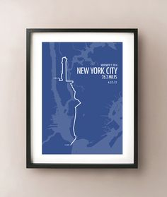 FREE STANDARD SHIPPING on all orders for a limited time! No coupon code required. New York City Marathon map print showing the route of the