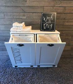 Tilt out laundry hamper double bin (D-LAU-W-STEN) - Lovemade14 Tilt Out Laundry Hamper, Wash N Dry, Bathroom, Home Decor, Washroom, Decoration Home, Room Decor, Bathrooms, Interior Design