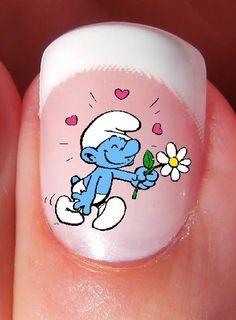 10 Water Nail Art Decals Transfer Smurfs #Halloween #smurf #nails www.loveitsomuch.com