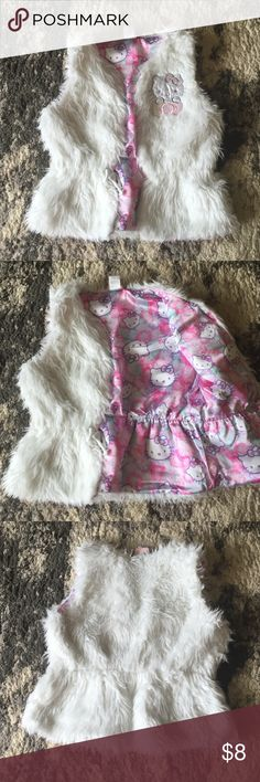Faux Fur Vest size 8 Girls Hello Kitty Faux Fur Vest in White size 8 EUC no stains no flaws Hello Kitty Jackets & Coats Vests