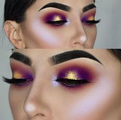 Gold and plum metallic halo eyeshadow look