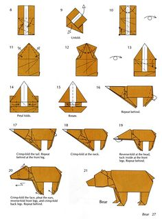 How to make a bear origami - http://www.ikuzoorigami.com/how-to-make-a-bear-origami/