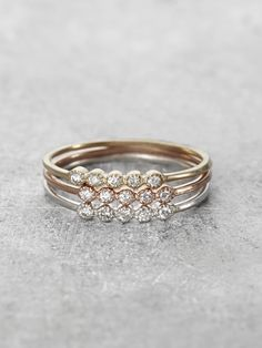 Daisy Diamond 14K Gold Stacking Rings