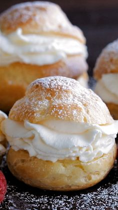 Cream Puffs are a classic French dessert filled with sweet cream and dusted with powdered sugar. Learn how to make easy bakery quality cream puffs. for parties Cream Puffs Recipe Easy Desserts, Delicious Desserts, Yummy Food, Baking Desserts, Puff Pastry Desserts, How To Make Desserts, Sweet Puff Pastry Recipes, How To Make Eclairs, Tea Party Desserts