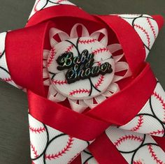 Baseball Baby Shower Corsage Mommy to Be Pin Daddy by PathysDesign