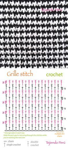 Crochet: grille stitch or pied de poule diagram (pattern or chart)! ciekawy na szal Crochet grille stitch diagram that has a kinda sorta jacquard'y look to it. I may be reading it wrong but looks like you just keep reversing how two basic stitches sit ove Crochet Diy, Crochet Stitches Free, Crochet Motifs, Crochet Diagram, Crochet Chart, Love Crochet, Diagram Chart, Stitch Crochet, Simple Crochet