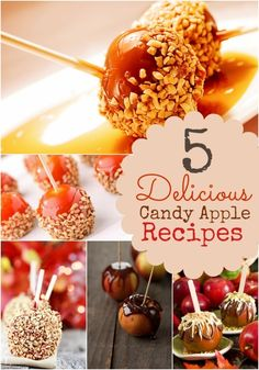 5 Candy Apple Recipe Ideas Is there a food more indicative of Halloween than candy apples? As a kid, I remember how we knew every single house in our neighborhood that gave them out and made sure to hit them Fun Desserts, Delicious Desserts, Dessert Recipes, Caramel Candy, Caramel Apples, Apple Recipes, Fall Recipes, Candy Apples, Candy Recipes