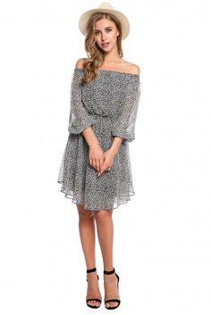 Womens Off Shoulder Long Sleeve Print Casual Summer Beach Dress