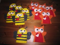 """Valentine Owls (inspired by another Pintrest Pin) and Valentine Bees.  These felt preschooler sized hand puppets, will be the valentines my daughter gives to her pre-school class.  I'll attach tags that say """"WHOOOO Will Be My Valentine?"""" and """"Bee My Valentine."""""""