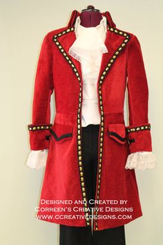 Captain Hook Pirate Costume  Custom Made Mens by Correen's Creative Designs.  Now taking orders for Halloween 2016 - hurry space limited.  Hook Costume, Peter Pan Costumes, Family Costume Ideas, halloween