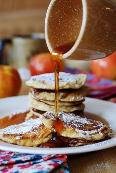 Apple cinnamon yogurt pancakes 1 egg 1/2 cup Greek yogurt 1/2 cup + 2 tablespoons half-and-half 1 cup flour 1/2 teaspoon baking powder 1/4 teaspoon salt 2 tablespoons suga...