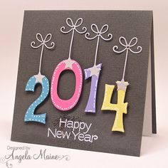 handmade New Year card from the tool shed ... non-traditional look ... luv the hanging numbers ...