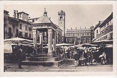 Verona - il mercato in Piazza delle Erbe nel primissimo 1900