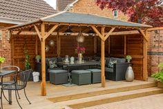 Timber Garden Gazebo - Utopia 4m x 3m. Garden Buildings, Garden Structures, Outdoor Structures, Wooden Gazebo, Wooden Garden, Garden Furniture, Pergola, Bbq, Patio