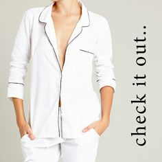 The Coco Classic PJ set our timeless man-style PJ set in crisp white poplin with black piping, breast & side pockets. Tailored for maximum comfort & style. Set includes PJ shirt & matching pants, designed to sit on hip. 100% super soft cotton, genuine shell buttons, grosgrain waist cord tie & waistband lined in grosgrain trim. Your Classic PJ set arrives beautifully packaged in a white cotton organza foundling embroidered drawstring lingerie bag.. www.foundling.com.au