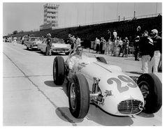 1958 - A. Foyt Rookie at the Indianapolis Driving a Kuzma Offenhauser. He qualified: Speed with average speed of mph. He finished: Spun on an Oil Slick, Blew the Tires on lap Speedway Racing, Indy Car Racing, Indy Cars, Race Car Track, Old Race Cars, My Dream Car, Dream Cars, Indianapolis Motor Speedway, Classic Race Cars