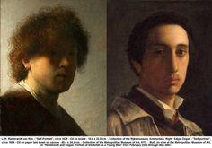 Rembrandt van Rijn - Self Portrait (1628) - Rijksmuseum, Amsterdam. (on the right, self portrait by Edgar Degas)