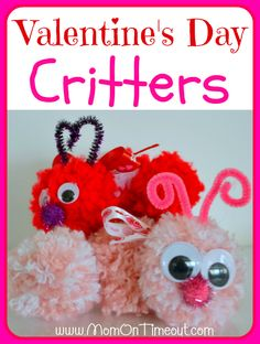 Valentine's Day Critters | MomOnTimeout.com - So fun to make and they're soft and cuddly, too! #ValentinesDay #craft #kids #Valentines