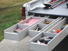 Truck Bed Storage System  This custom-made system hides enough tool storage for a full workshop. Trick out your truck with these step-by-step instructions.  This is so cool!