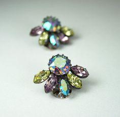 Vintage Earrings Austria Pastel Aurora Borealis by zephyrvintage, $22.00