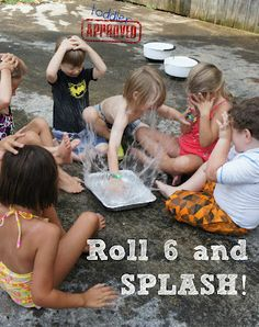 Roll a six and you get to splash the water. Haha! It's so simple, but you know kids would love that. #kids #games #summer