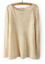 Beige Long Sleeve Sequined Split Back Sweater $32.58 #SheInside