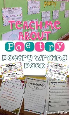 Teach your students how to write poetry using Proud to be Primary's Poetry Writing Unit. It includes 12 types of poetry styles and differentiated planning, practice sheets and templates. Teaching Poetry, Teaching Writing, Writing Lessons, Teaching Tools, Teaching Ideas, Work On Writing, Writing Poetry, Writing Genres, Poetry Unit