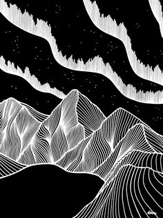 The Lights, Pen on Paper – Best Drawing Black Paper Drawing, Mountain Drawing, Scratch Art, Art Sketches, Art Drawings, White Pen, Illustration, Pen Art, Zentangle