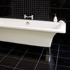 Gemstone Black Wall and Floor TileGemstone Black Wall and Floor Tile - Black And White Bathroom Ideas - Black Sparkle Tiles - Better Bathrooms Narrow Bathroom, Bathroom Floor Tiles, Wall And Floor Tiles, Bathroom Faucets, Bathroom Wall, Modern Bathroom, Amazing Bathrooms, Better Bathrooms, Sparkle Tiles