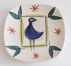 Stavangerflint by Inger Waage BIRD DISH 1950's Made in Norway - Scandinavian…