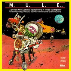 "Box art for ""M.U.L.E.,"" an economy / turn-based strategy game released by Electronic Arts for the Commodore 64 and other PCs in 1983"
