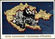 58 German Reich very RARE postcard Adolf Hitler new territories 1938 Nazi Propaganda, Dresden, Munich Agreement, Ww2 Pictures, Cultural Studies, Political Cartoons, Military History, World War Two, History
