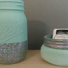 A touch of country on your desk! Mason jar desk set. seaside color! Business card holder. Pen / pencil holder! Sparkles. Glitter.