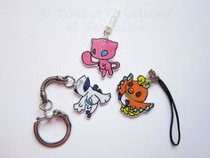 Pokemon Anti-dust plug strap keychain Mew Lugia by DoucesCreations