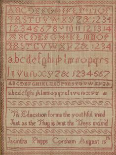 A small alphabet sampler worked by Jacintha Phipps, Corsham, August 15th, 18.5cm x 13.5cm/and another worked by Emma Sharp, October 8th 1838, 41cm x 44cm