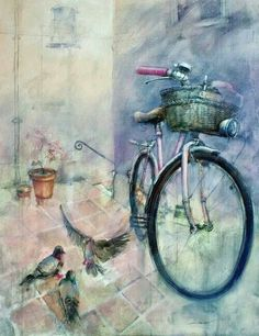 Under Ginas Window, John Lovett watercolor techniques. Watercolor Artists, Watercolor Landscape, Watercolor Paintings, Watercolors, Watercolor Techniques, John Lovett, Bike Poster, Art Et Illustration, Bicycle Art