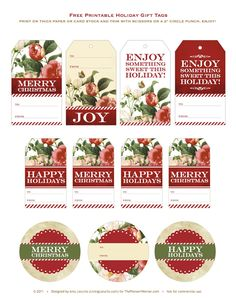 Gorgeous Free printable Holiday Gift Tags via @livinglocurto for @thepioneerwoman