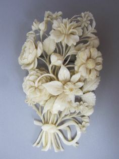 Stunning Antique 19th C French Fine Carved Dieppe Bouquet of Flowers Brooch RARE, 73mm x 45mm. | eBay, $647.24