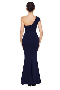Navy Blue One Shoulder Ponti Gown #dress #skirt #fashion #casual #women #amazon #freeshipping #hotsellglobal