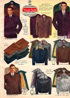 Vintage Mens Sport Coats from a 1952 Sears catalog