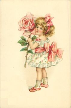 Beautiful Vintage Images  Little Girl Holding Flowers