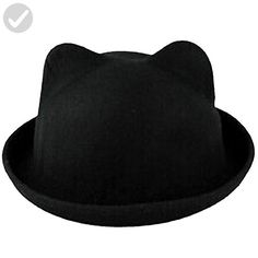eYourlife2012 Women s Candy Color Wool Rool Up Bowler Derby Cap Cat Ear Hat  (Black) fbd2526a5d56