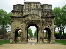 The Triumphal Arch of Orange is a triumphal arch located in the town of Orange, southeast France. There is debate about when the arch was built, but current research that accepts the inscription as evidence favours a date during the reign of Augustus (27 BC - AD 14). It was built on the former via Agrippa to honor the veterans of the Gallic Wars & Legio II Augusta. It was later reconstructed by emperor Tiberius to celebrate the victories of Germanicus over the German tribes in Rhineland.