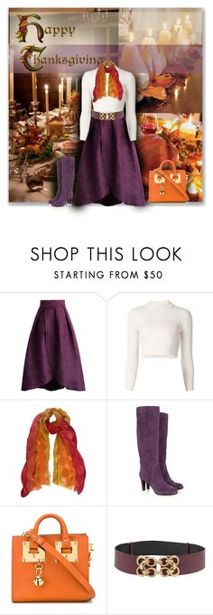 """""""Thanksgiving"""" by sheryl-lee ❤ liked on Polyvore featuring Chicwish, Maison Margiela, Sujuu, Sergio Rossi and Sophie Hulme"""
