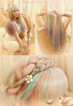 Multi pastel hair