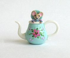 Miniature  Mouse in Teapot Teapot OOAK by C. by ArtisticSpirit