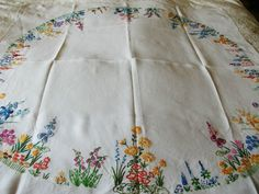 "Vintage Hand Embroidered Tablecloth IRIS & DAFFODIL HOLLYHOCKS CIRCLE 40"" X 42"""