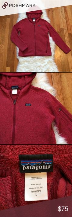 "Women's Patagonia Better Sweater Hoodie The hoodie version of the better sweater from Patagonia. Just as cozy as all the others only with a hood! Color is a marled heather red. Super cute & goes with most anything! Sweater is amazing condition with no signs of wear except 1/2"" seem is coming loose on the neckline. This is a super easy fix (Patagonia will fix for free) and does not effect the use in anyway! See last pic for details. Will consider trading for another Patagonia full zip Better…"