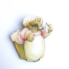 Mrs Tiggywinkle - Beatrix Potter - Hedgehog Wooden Brooch Pin - Gift - Laser Cut - Party Badges