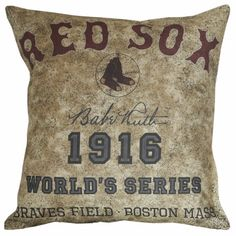 Antique Vintage Baseball Print Red Sox Babe Ruth Document Burlap Cotton Throw Pillow Cover BB-07 on Etsy, $35.00